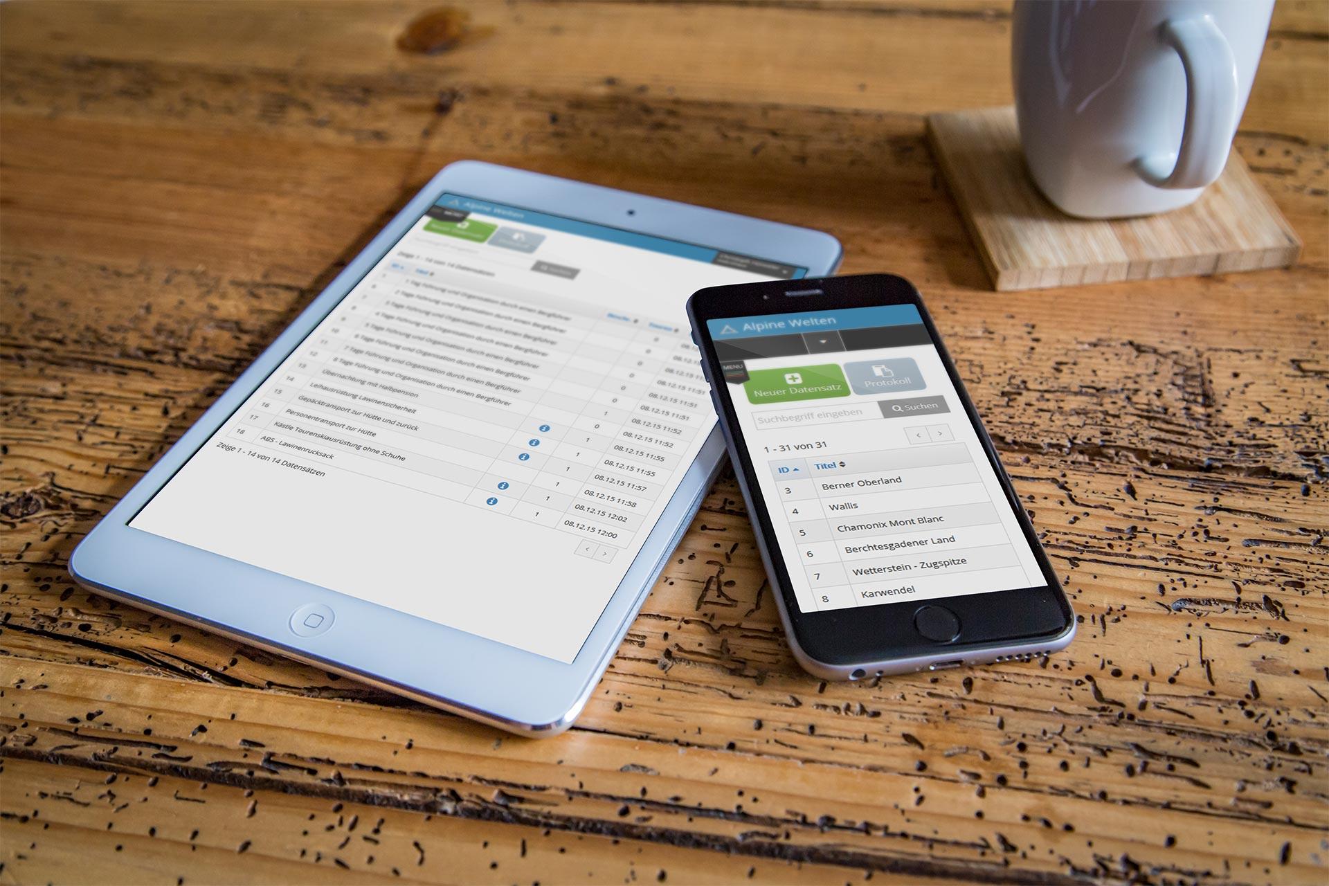 Bi Alpine Welten Buchungsverwaltung Tablet Handy